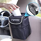 Tchipie Car Trash Can Garbage Bin, Vehicle Trash Bag Hanging, Auto Trash Container Trashcan, Truck Trash Can with Lid and Storage Pockets 1.24 Gallons - Waterproof, Removable and Washable Liner