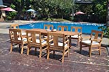 8 Seats 9 Pcs Grade-A Teak Wood Dining Set: 94″ Double Extension Rectangle Table And 8 Osborne Arm Chairs #WHDSOS33 Review