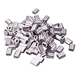 Wire Rope Aluminum Sleeve Wire Rope Aluminum Sleeves Clip Fittings Cable Crimps Set of 100 pcs by Copapa (1/16 inch)