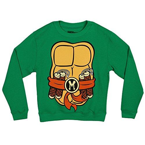 [Teenage Mutant Ninja Turtles Costume Crew Neck Fleece Sweatshirt-Michelangelo (Large)] (The Orange Ninja Turtle Costume)