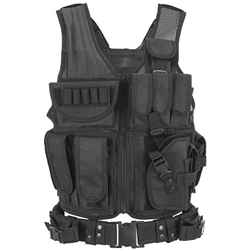 Barbarians Tactical Molle Vest Military Airsoft Paintball Vest Assault Swat Vest Adjustable Lightweight(Black) (Swat Vest Paintball)