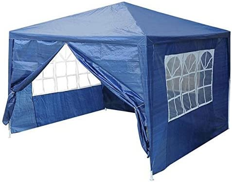 Jacoble 10 x 10 Canopy Outdoor Backyard Party Wedding Tent 4 Sidewalls Screen Blue