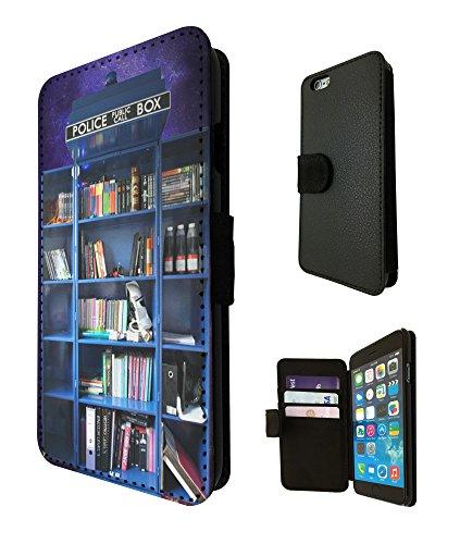 454 - Doctor Who Tardis Call Box Book Shelves Library Design iphone 5 5S Book Style Purse Wallet Pouch portefeuille Poche Flip Coque Flip Case Carte de crédit Coque