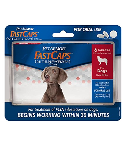 PetArmor FastCaps (nitenpyram) Oral Flea Treatment Medication, 25 lbs and Over, 6 count