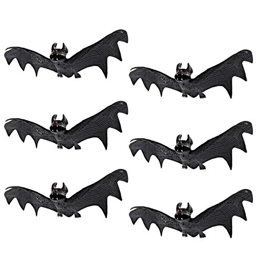 JOYIN Set of 6 Realistic Looking Spooky Hanging Bats for Best Halloween Decoration