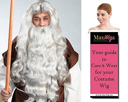 Moses Deluxe color MIXED GREY - Enigma Wigs Biblical Commandments Bible Ten Bundle w/Cap, MaxWigs Costume Wig Care ()