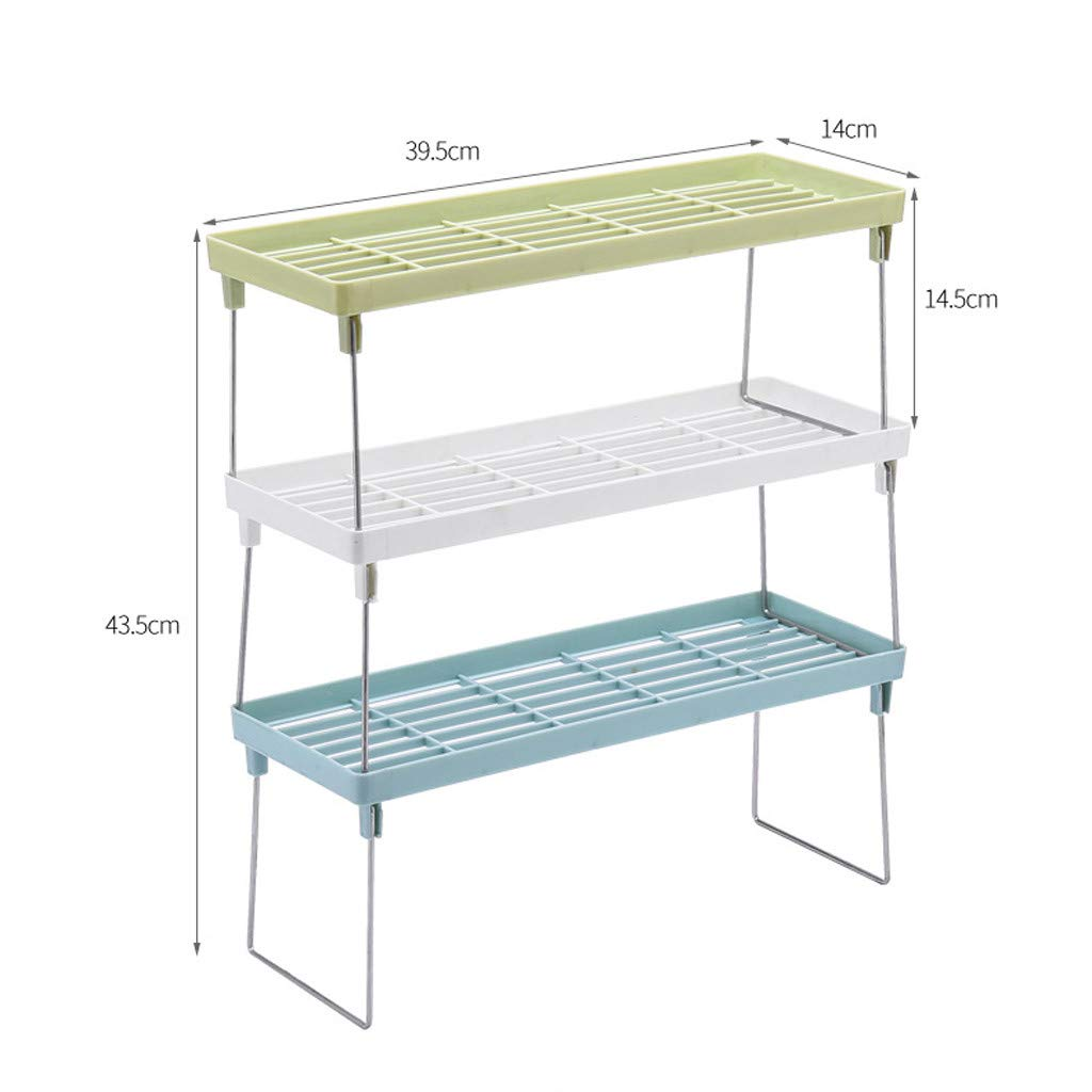 Standing Rack for Kitchen Xlala Bathroom Countertop Storage Organizer Shelf Holder Spice Rack Shelf Multifunction Drainage Iron Frame (Blue) by Xlala Home Garden (Image #2)