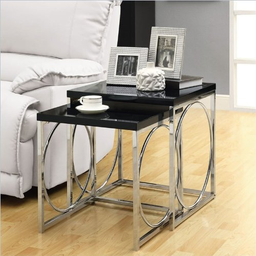 Monarch Specialties Nesting Table Set, Glossy Black/Chrome