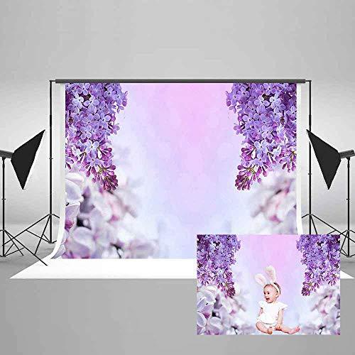 EARVO 7x5ft Purple Flower Photography Background Birthday Party