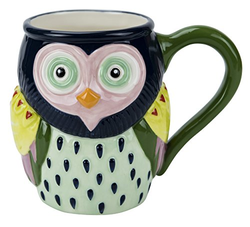 Mug, Artsy Owl Collection, 18 oz. Capacity, Hand-painted Earthenware by Boston Warehouse