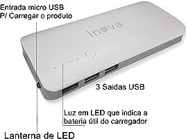 Power Bank Bateria Portátil 10.000mAh 3 USB Inova cinza