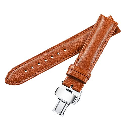 iStrap 20mm Genuine Leather Watch Band Padded Calfskin Strap Steel Butterfly Deployant Clasp - Leather Strap Wrist Watch