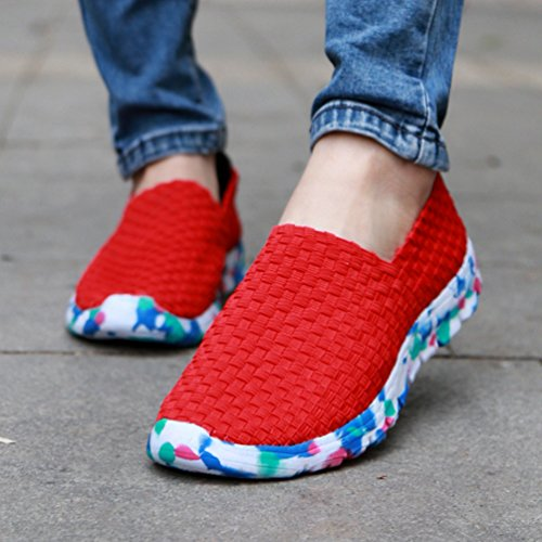 Anguang Mujer Ponerse Tejido Tramo Plano Zapatos Para Caminar Corriendo Respirable Casual Entrenadores Zapatos Rojo