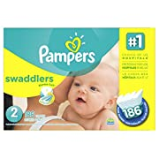 Pampers Swaddlers Disposable Diapers Size 2, 186 Count, ECONOMY PACK PLUS