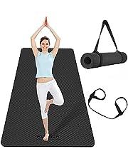 CAMBIVO Duża mata do jogi dla kobiet mężczyzn, bardzo szeroka mata do ćwiczeń, TPE przyjazna dla środowiska antypoślizgowa mata do pilatesu do domu na siłownię, trening, gimnastykę, fitness, trening, medytację