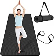 """CAMBIVO Extra Wide Yoga Mat, 73"""" x 32"""" x 1/4"""" TPE Non-Slip Exercise Mat 6mm Thick, Eco-Friendly"""