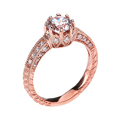 Art Deco Diamond 14K Rose Gold Engagement and Proposal Ring with 1 Carat White Topaz Centerstone (Size 10.5)