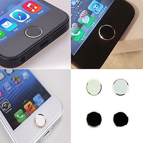 4pcs High Quality Home Button Sticker Black and White Metal for iPhone 5 5S ()