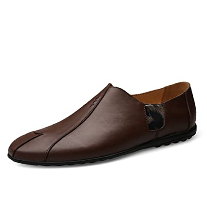 Jiuyue-shoes Mocasines de Cuero Genuino de conducción para Hombre Mocasines de Costura de Empalme