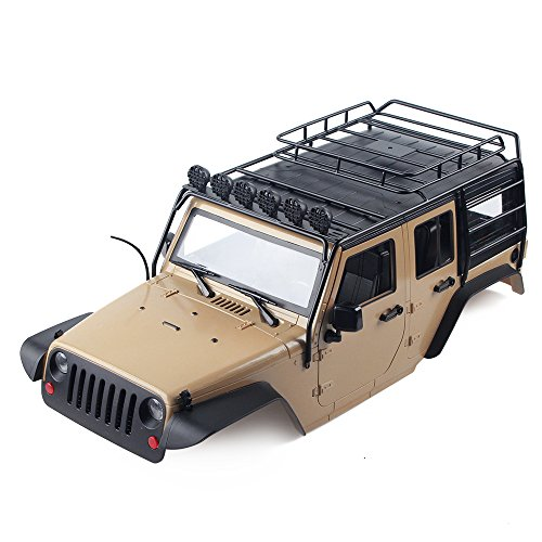INJORA 7 Color Available 313mm Wheelbase Jeep Wrangler Rubicon Car Shell+ Metal Roof Rack for 1/10 RC Crawler Axial SCX10 90046 (Khaki)