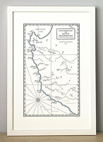 Monterey Bay to Big Sur Letterpress Map Unframed Print