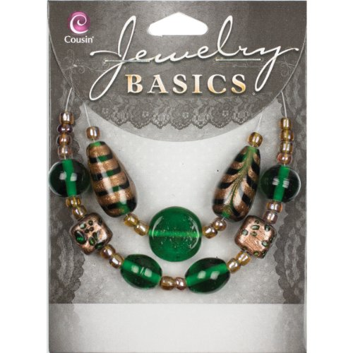 Cousin Jewelry Basics Glass Bead Mix, Green and Gold Swirl, 9-Pack