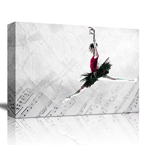 - wall26 - Ballerina Dancing Over a Musical Notes Background with a Brush Stroke Texture on Top - Canvas Art Home Decor - 16x24 inches