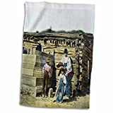 3dRose Scenes from the Past Magic Lantern Slides - Native American Indian Family in the American West Baby with Flag - 12x18 Hand Towel (twl_246872_1)