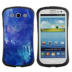Hybrid Anti-Shock Bumper Case for Samsung Galaxy S3 / Fantasy Asian Waterfall Temple