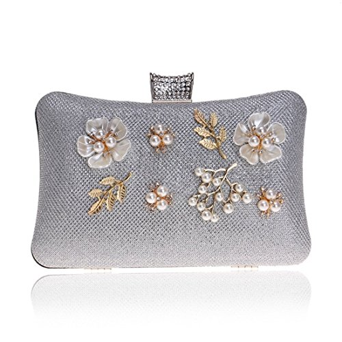 Bag Banquet Dress Handbag Color Flower Bag Evening Women's Purse KERVINFENDRIYUN Clutch Crossbody Silver Silver qxpvwTA6