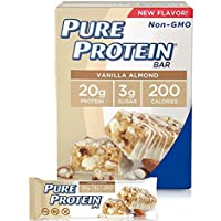 Pure Protein Bars, High Protein, Nutritious Snacks to Support Energy, Low Sugar, Gluten Free, Vanilla Almond, 1.76 oz, Pack of 2(6 bars per pack)