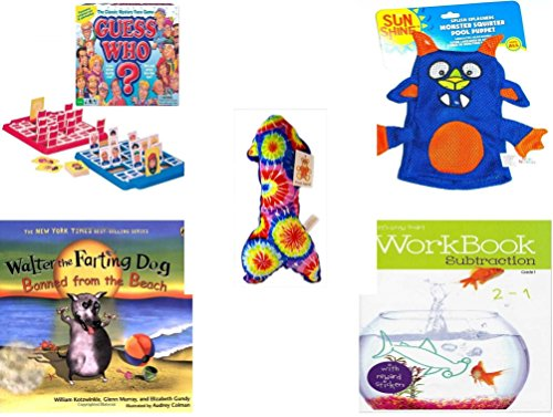 Children's Gift Bundle - Ages 3-5 [5 Piece] - Guess Who? Board Game - Splish Splashers Monster Squirter Pool Puppet Toy - Plush Appeal Blue Tie Dye Arrow Plush 10.5