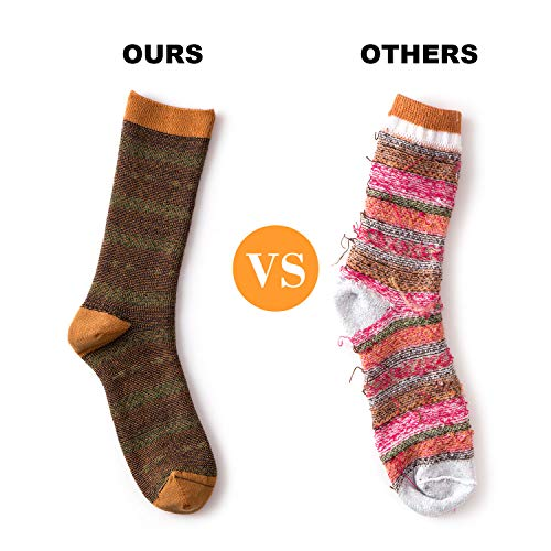 Gonii Pairs Womens Comfy Wool Cotton Socks Vintage Warm and Cozy Knit Crew Socks for All Seasons Casual Socks (1pair-Tan+Green, Shoe Size 9-12)