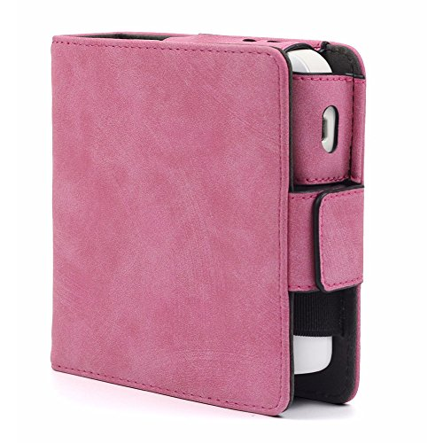 Ocamo PU Leather Shockproof Anti-scratch Protective Storage Case with Card Slots for IQOS Electronic Cigarette Frosted pink by Ocamo