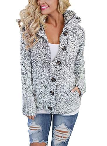 Asvivid Womens Hooded Cable Knit Button Down Loose Sweater Cardigans Coats Jacket Outwear with Pockets S Grey