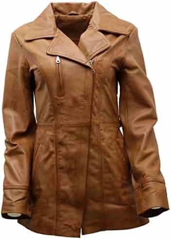 1f7f1ad58f2 Women's Black, Brown, Tan Nappa Leather Long Biker Jacket with Belt