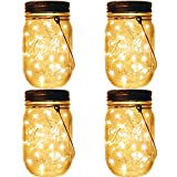 Solar Mason Jar Lights 4 pack-10 LED String Fairy Star Lights Screw on Silver Lids – Soft Warm White