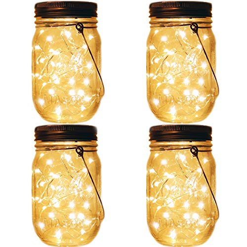 Decor Jar (Mason Jar Tiki Solar Lanterns Lights,4 Pack 20 Leds Starry Star Fairy Firefly Jar Lights,for Outdoor Patio Garden Yard Mason Jar Wedding Table Decor Solar Lantern Lights(Mason Jars/Hangers Included))