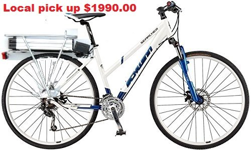 Schwinn Searcher by Cannondale Fast Electric Bike 48V 17ah 50Mile Range disc Suspension Ladies 700C wheel 3 x 8 speed XS frame hill climber