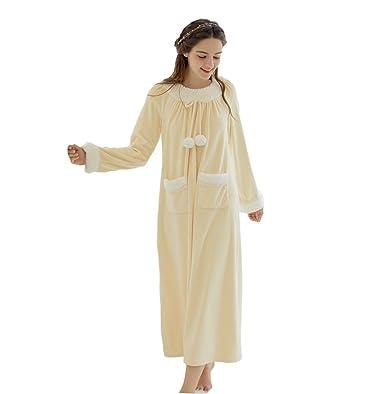 Gelb Winter Süße Nette Langen Ärmeln Schlaf Kleid Weibliche Warme ...