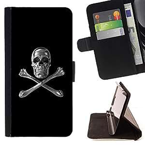BullDog Case - FOR/Apple Iphone 6 / - / SKULL CRYSTAL SILVER CROSSBONES BLACK /- Monedero de cuero de la PU Llevar cubierta de la caja con el ID Credit Card Slots Flip funda de cuer