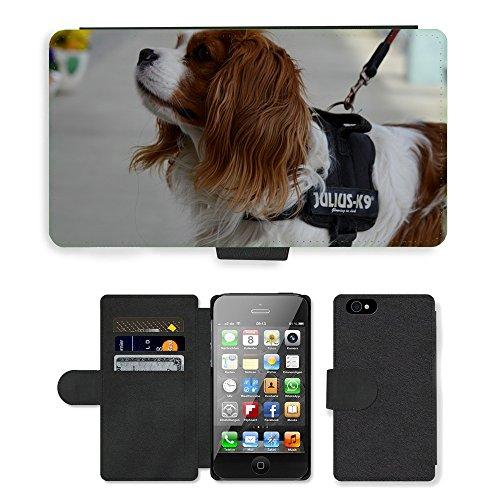Just Phone Cases PU Leather Flip Custodia Protettiva Case Cover per // M00127502 Chien hybride drôle animaux à fourrure // Apple iPhone 4 4S 4G