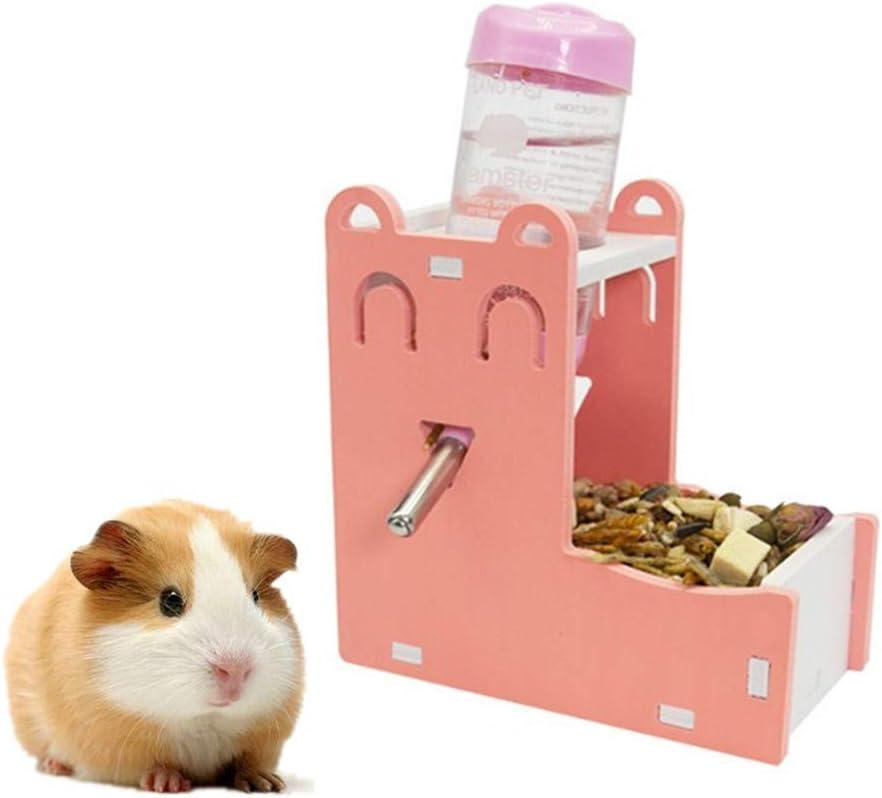 pzcvo Comedero Automatico Comederos Hamster Conejo dispensador de Comida Rata de la Comida Hámster Cuencos de Comida Ardilla de Set-Pink