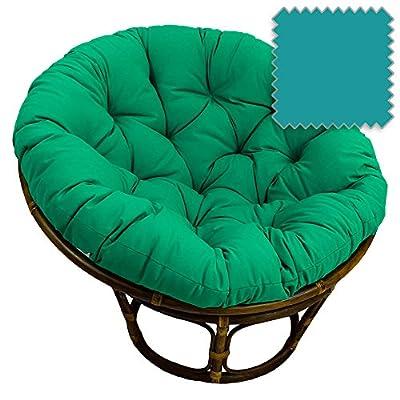 42-Inch Bali Rattan Papasan Chair with Cushion - Twill Fabric, Tufted, Dual Stain Finish