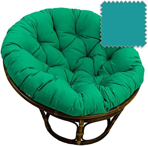 42-Inch Bali Rattan Papasan Chair with Cushion – Solid Twill Fabric, Aqua Blue – Aqua Blue