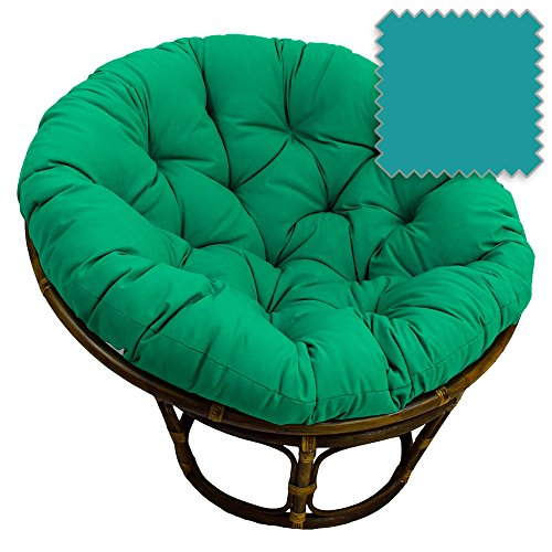 42-Inch Bali Rattan Papasan Chair with Cushion - Solid Twill Fabric, Aqua Blue - DCG Stores...