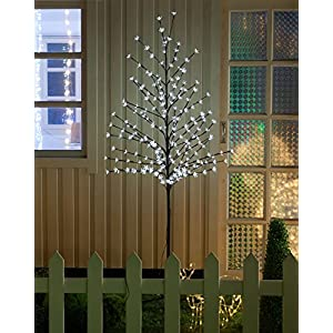 WED 6ft 208led Lighted Cherry Blossom Tree, Warm White Light for Home Garden/Summer/Wedding/Birthday/Christmas/Holiday/Party Decoration 84
