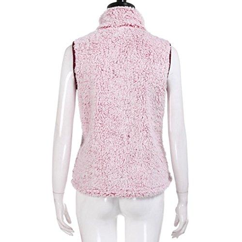 Mujer Chaleco Casual Piel Rosa y Outwear para Cálido Chaleco de Invierno Mujer de de KaloryWee Sintética 70gSxqcw60