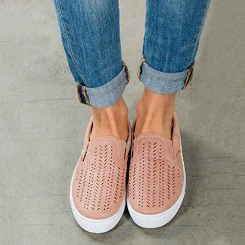 Hemlock Women Flat Shoes Leisure Boat Shoes Working Shoes Summer Beach Sandals Round Toe Shoes (US:7.5, Pink)