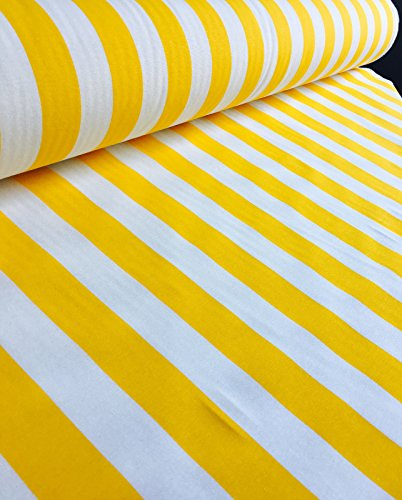 HomeBuy Yellow White Striped Fabric - Stripes Curtain Upholstery Material 140Cm Wide